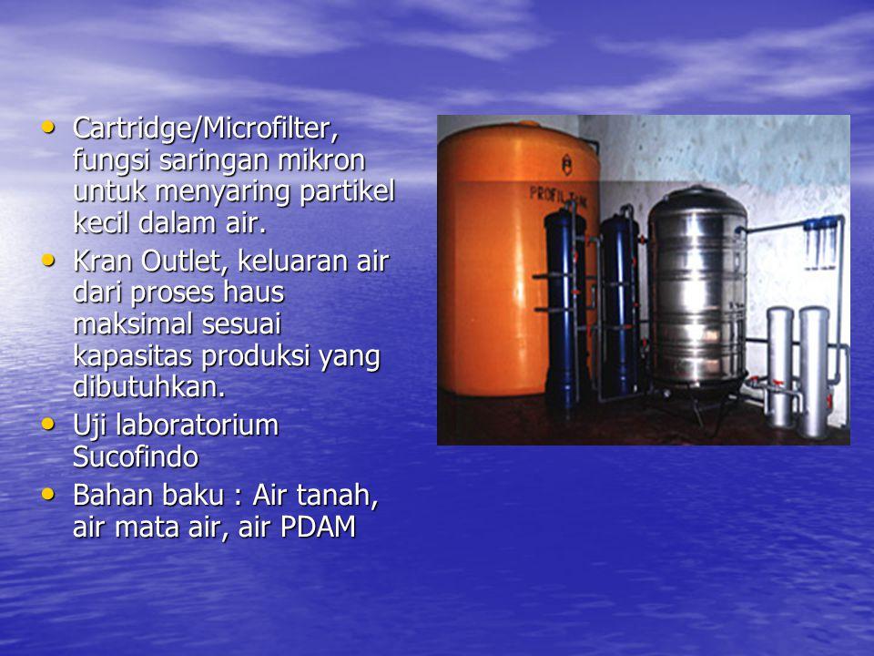 Cartridge/Microfilter, fungsi saringan mikron untuk menyaring partikel kecil dalam air.