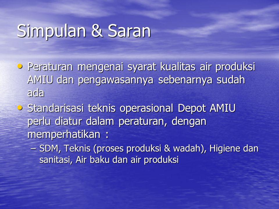 Simpulan & Saran Peraturan mengenai syarat kualitas air produksi AMIU dan pengawasannya sebenarnya sudah ada.