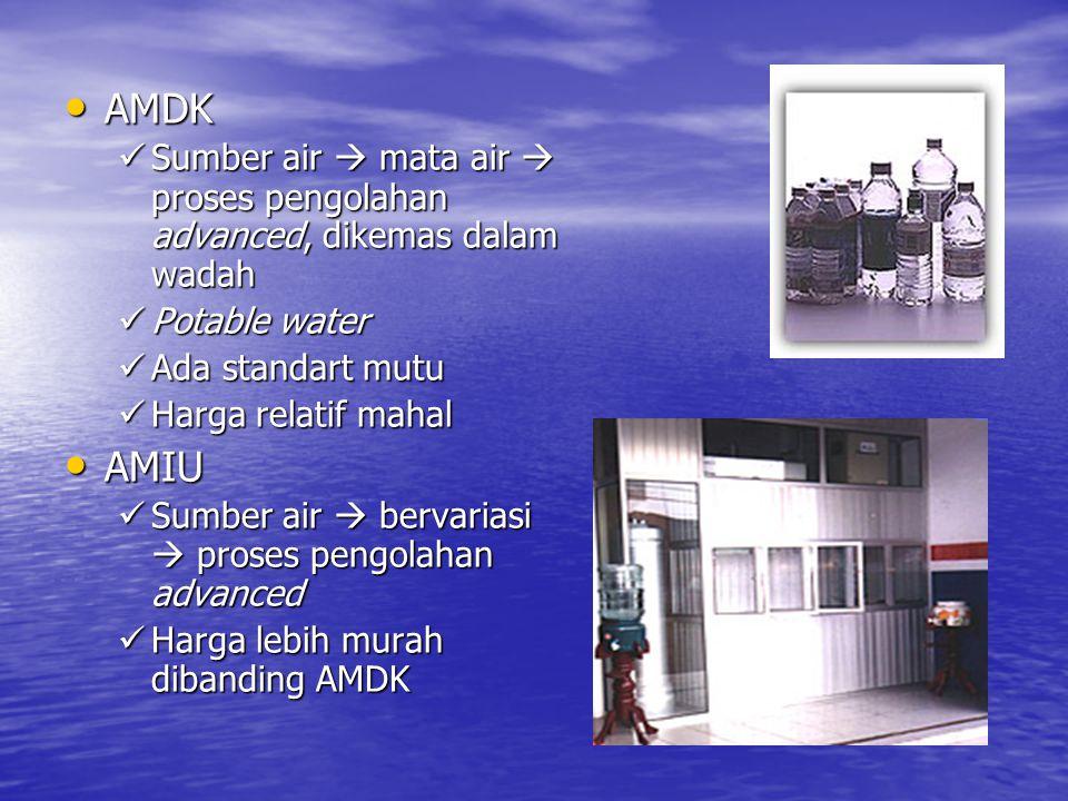 AMDK Sumber air  mata air  proses pengolahan advanced, dikemas dalam wadah. Potable water. Ada standart mutu.