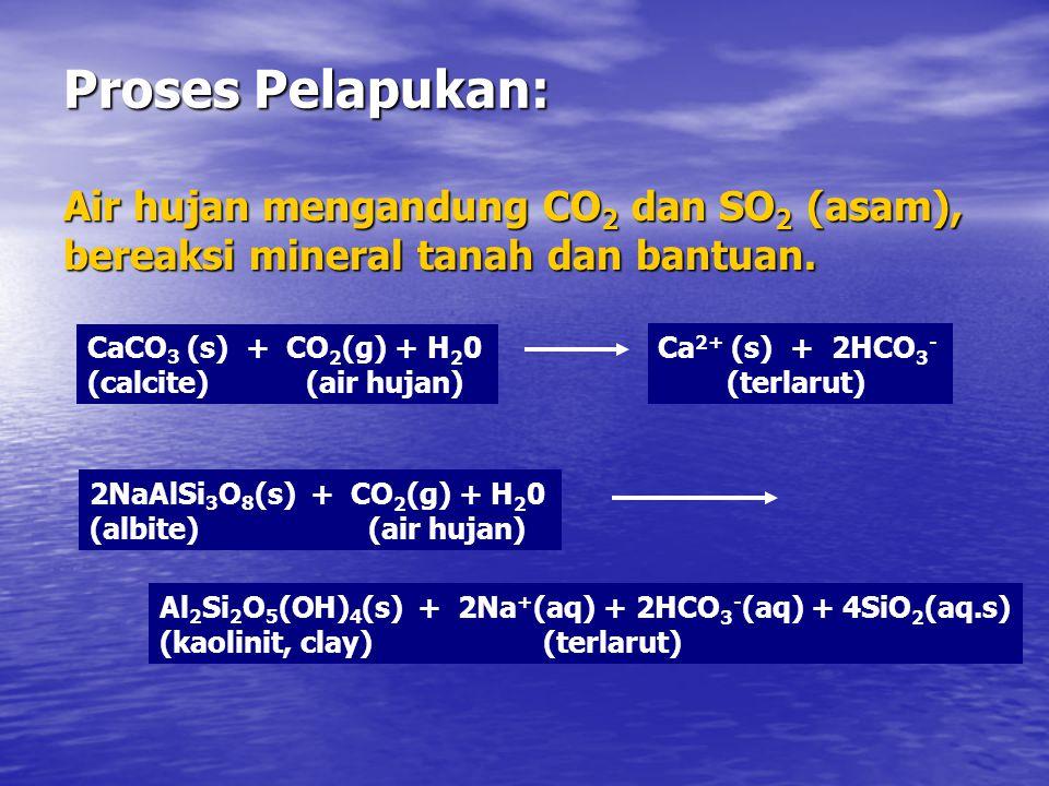 Proses Pelapukan: Air hujan mengandung CO2 dan SO2 (asam), bereaksi mineral tanah dan bantuan. CaCO3 (s) + CO2(g) + H20.