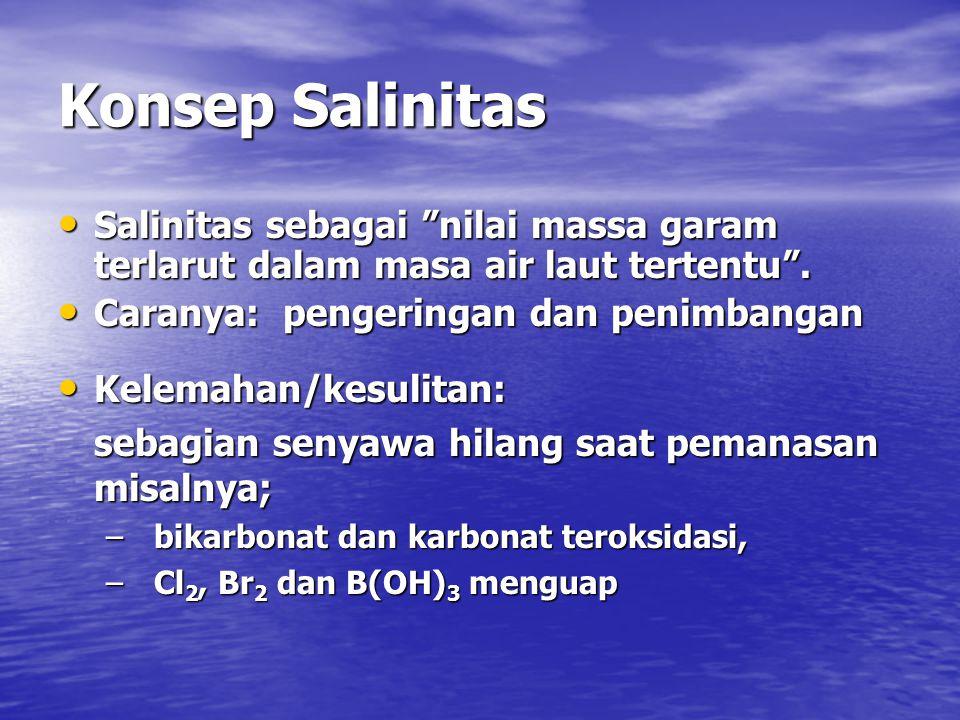 Konsep Salinitas Salinitas sebagai nilai massa garam terlarut dalam masa air laut tertentu . Caranya: pengeringan dan penimbangan.