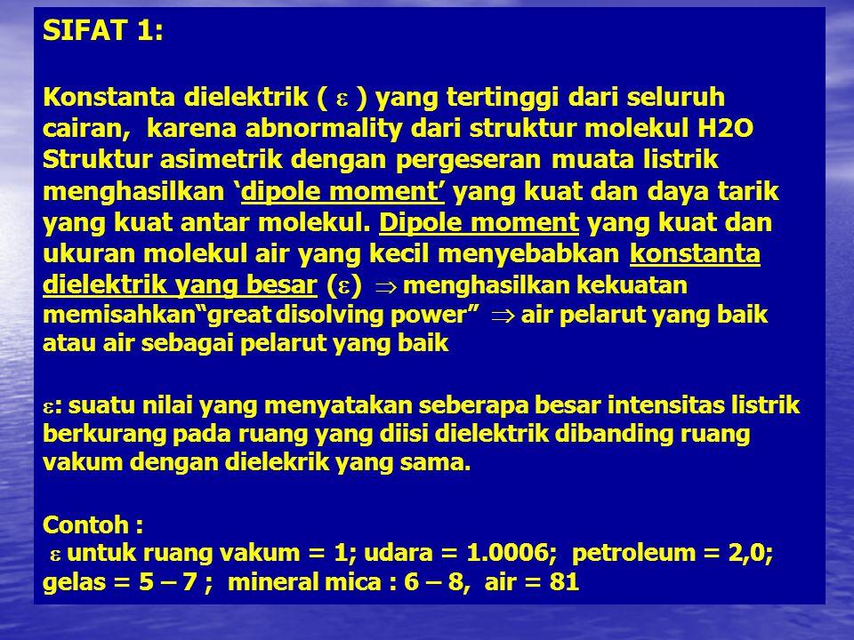 SIFAT 1: Konstanta dielektrik (  ) yang tertinggi dari seluruh cairan, karena abnormality dari struktur molekul H2O.
