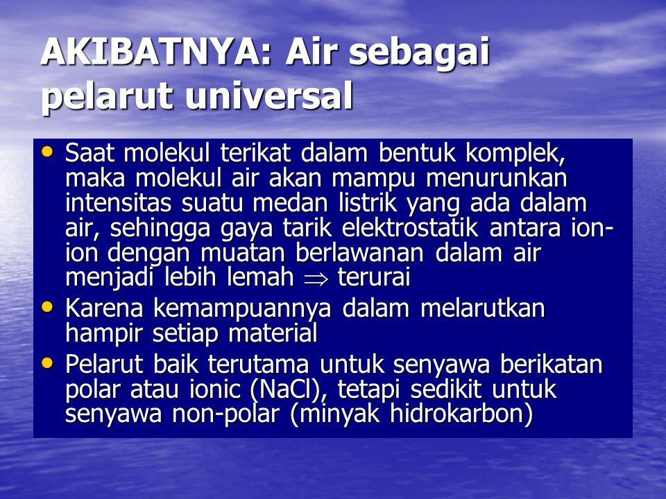 AKIBATNYA: Air sebagai pelarut universal