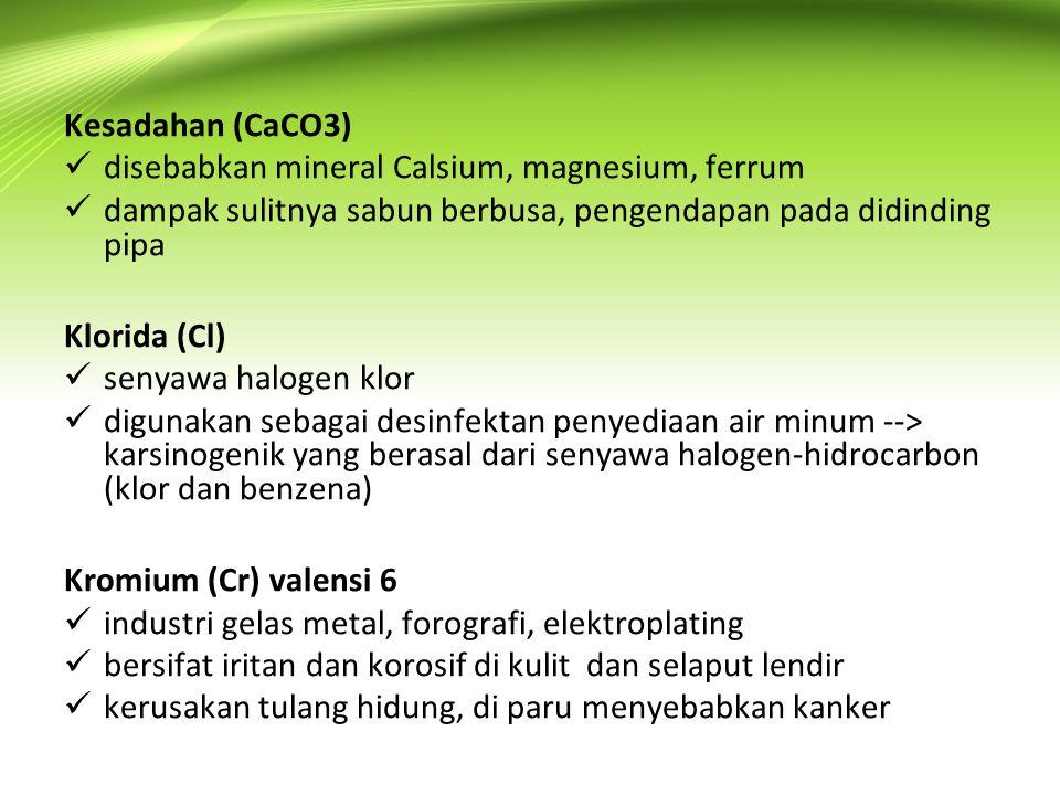 Kesadahan (CaCO3) disebabkan mineral Calsium, magnesium, ferrum. dampak sulitnya sabun berbusa, pengendapan pada didinding pipa.