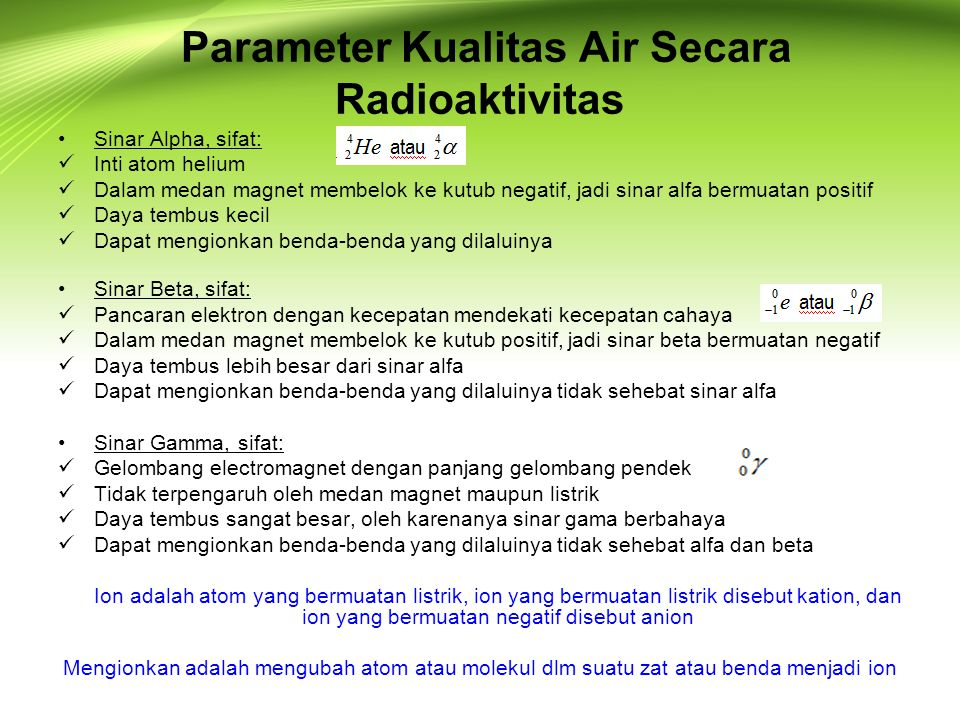 Parameter Kualitas Air Secara Radioaktivitas
