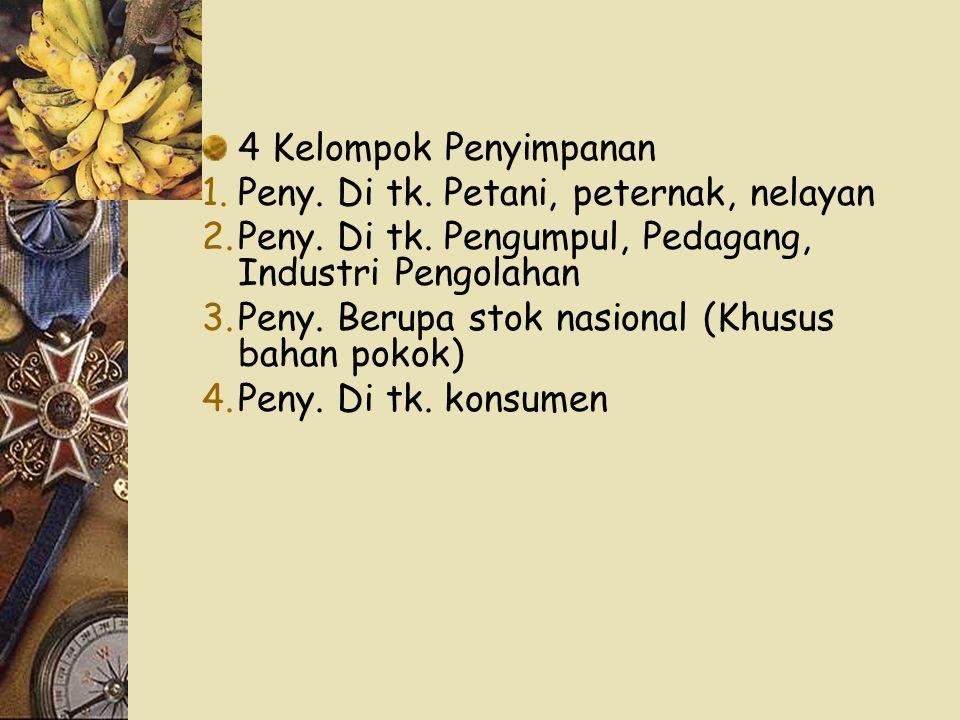 4 Kelompok Penyimpanan Peny. Di tk. Petani, peternak, nelayan. Peny. Di tk. Pengumpul, Pedagang, Industri Pengolahan.
