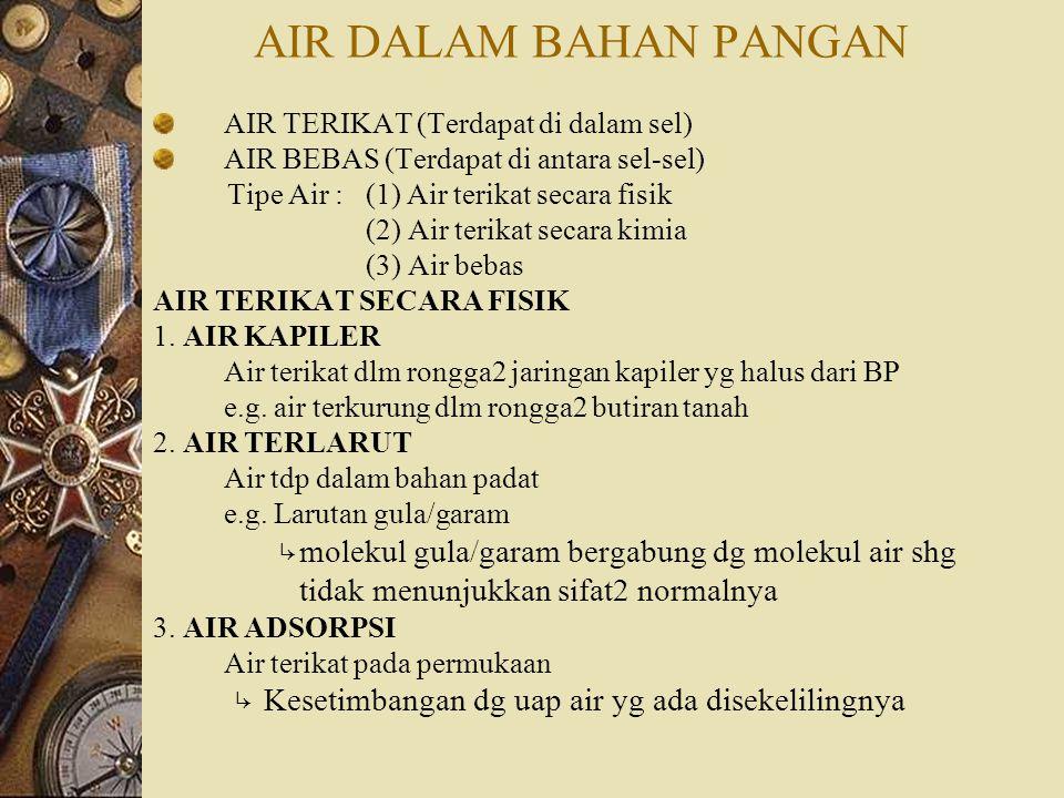 AIR DALAM BAHAN PANGAN tidak menunjukkan sifat2 normalnya