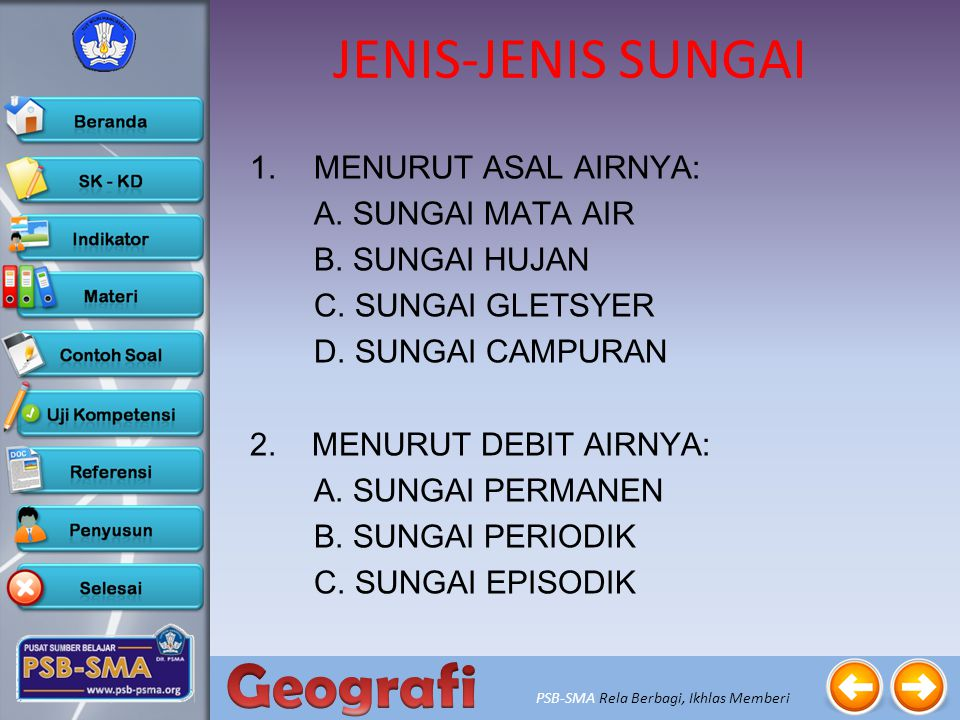 JENIS-JENIS SUNGAI MENURUT ASAL AIRNYA: A. SUNGAI MATA AIR