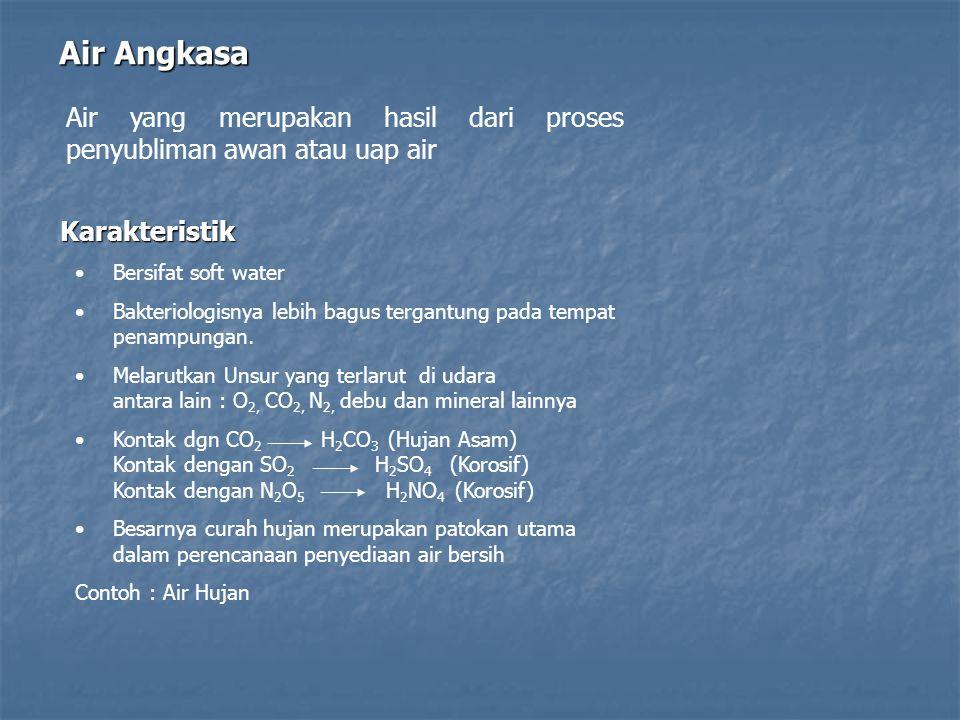 Air Angkasa Air yang merupakan hasil dari proses penyubliman awan atau uap air. Karakteristik. Bersifat soft water.
