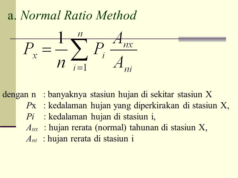 a. Normal Ratio Method dengan n : banyaknya stasiun hujan di sekitar stasiun X. Px : kedalaman hujan yang diperkirakan di stasiun X,