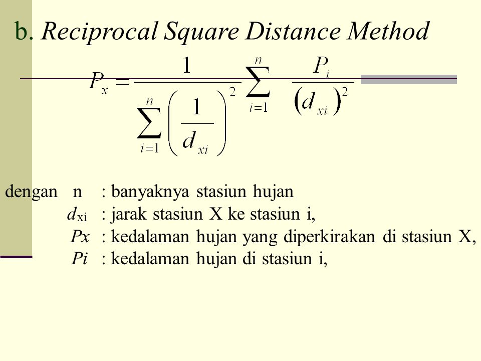 b. Reciprocal Square Distance Method
