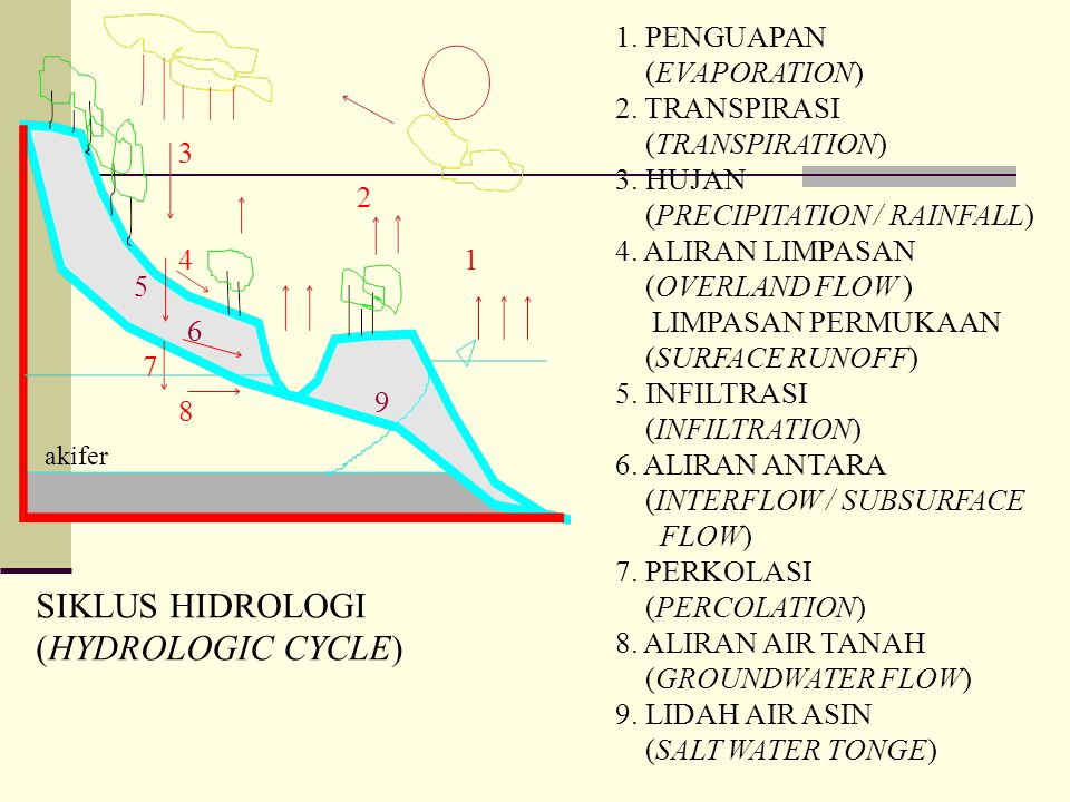 SIKLUS HIDROLOGI (HYDROLOGIC CYCLE) 1. PENGUAPAN (EVAPORATION)