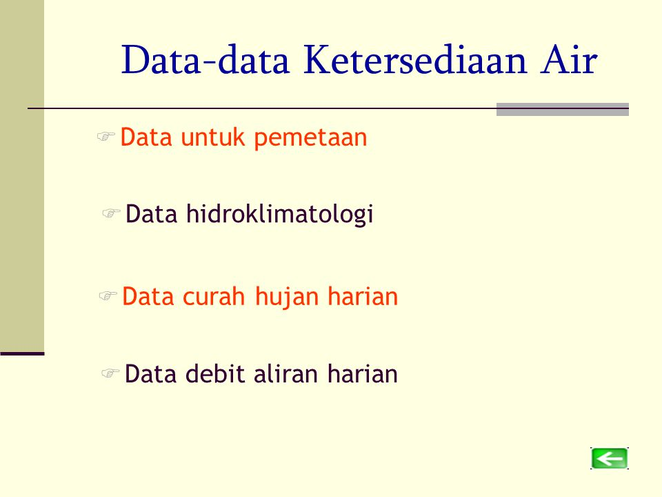 Data-data Ketersediaan Air