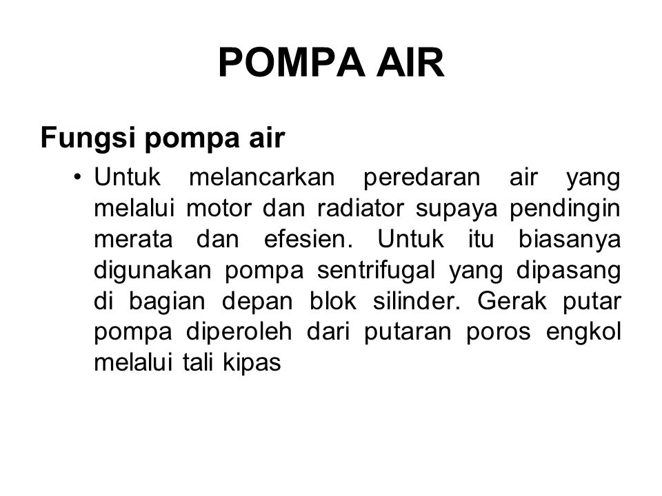 POMPA AIR Fungsi pompa air