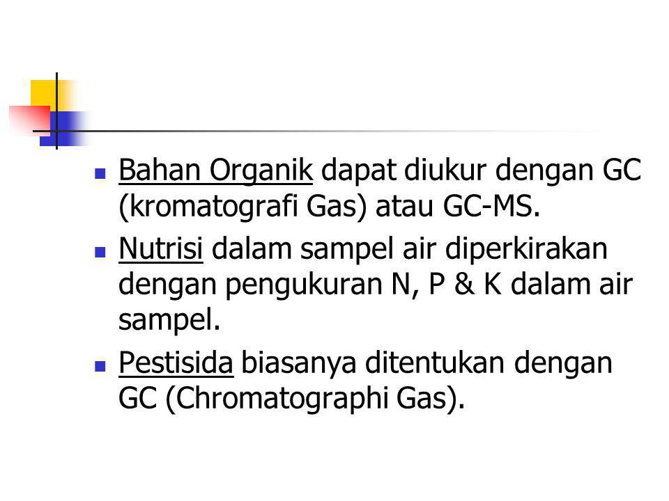 Bahan Organik dapat diukur dengan GC (kromatografi Gas) atau GC-MS.