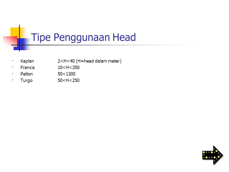 Tipe Penggunaan Head · Kaplan 2<H<40 (H=head dalam meter)