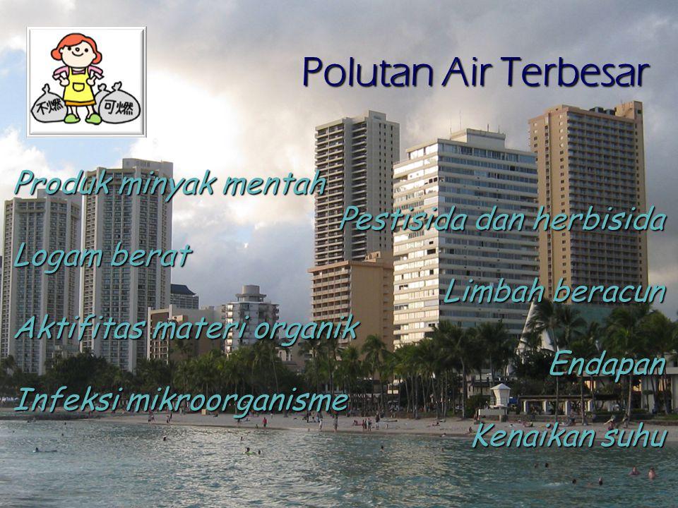 Polutan Air Terbesar Produk minyak mentah Pestisida dan herbisida