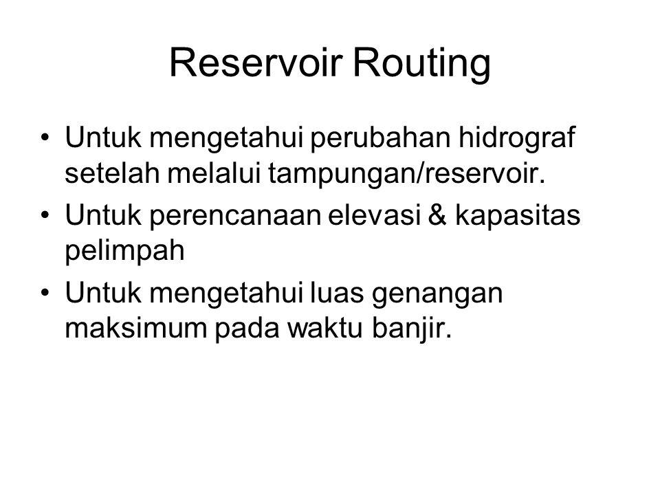 Reservoir Routing Untuk mengetahui perubahan hidrograf setelah melalui tampungan/reservoir. Untuk perencanaan elevasi & kapasitas pelimpah.