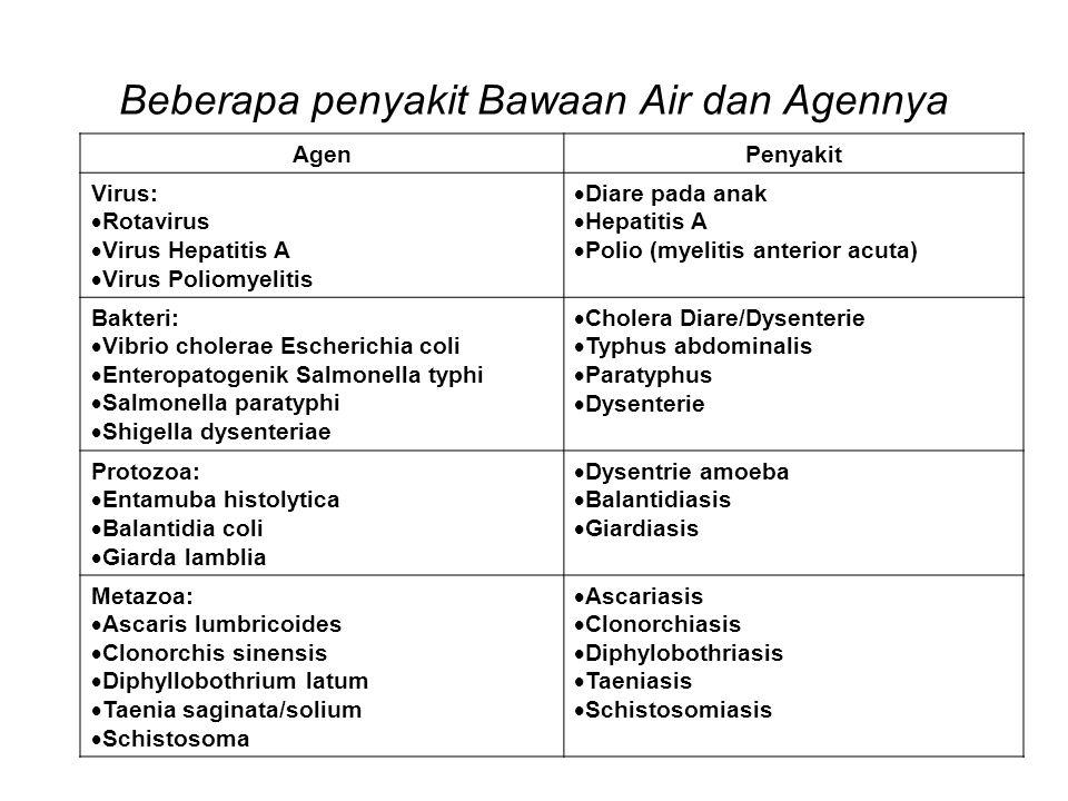 Beberapa penyakit Bawaan Air dan Agennya