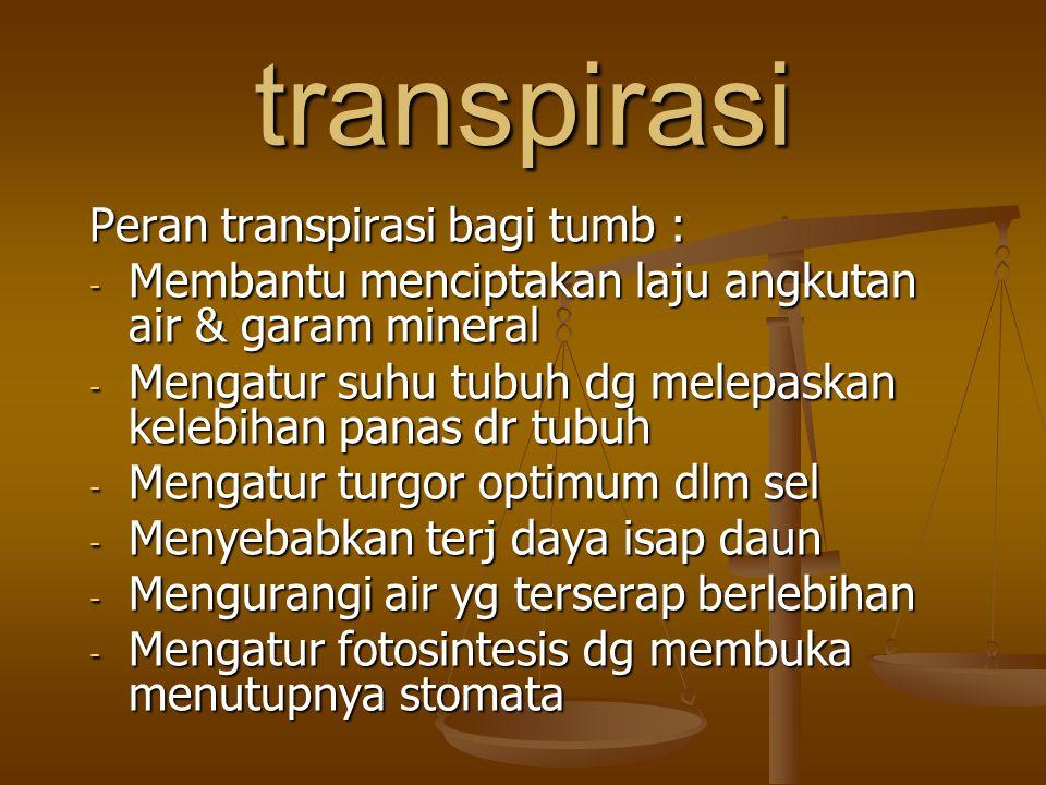 transpirasi Peran transpirasi bagi tumb :