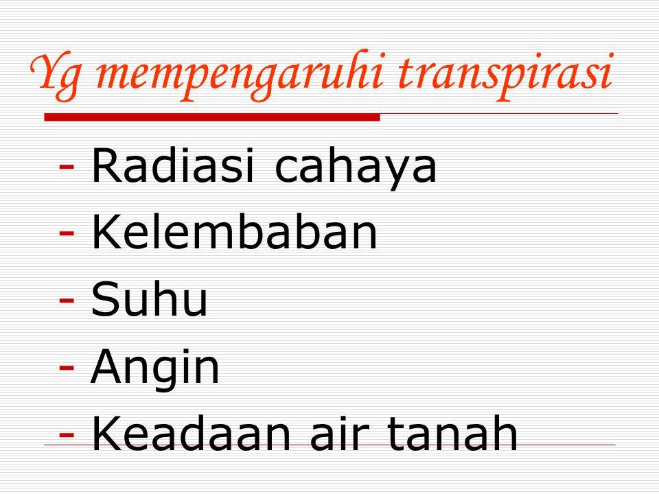 Yg mempengaruhi transpirasi