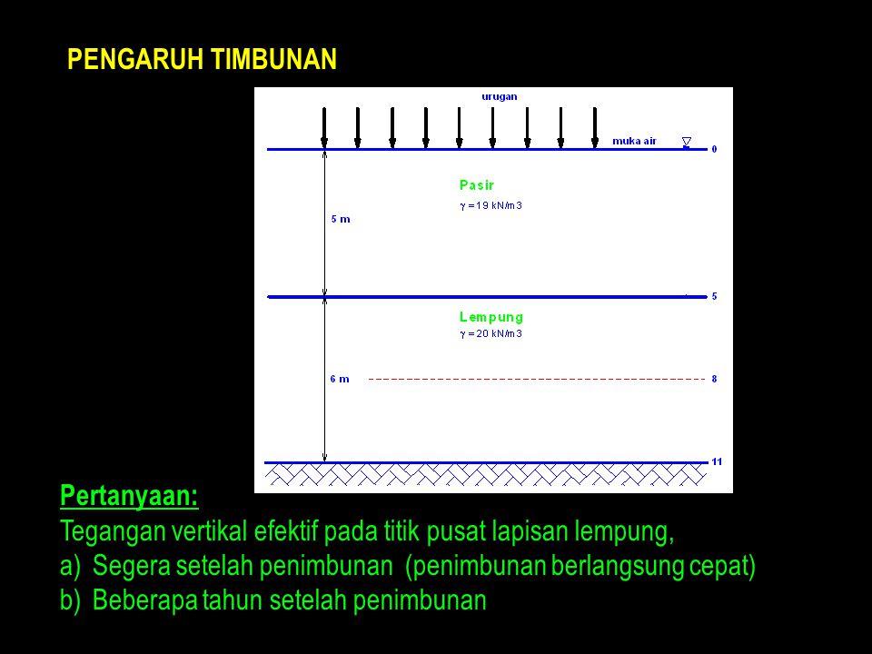 PENGARUH TIMBUNAN Pertanyaan: Tegangan vertikal efektif pada titik pusat lapisan lempung, Segera setelah penimbunan (penimbunan berlangsung cepat)
