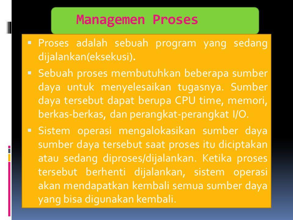 Managemen Proses Proses adalah sebuah program yang sedang dijalankan(eksekusi).