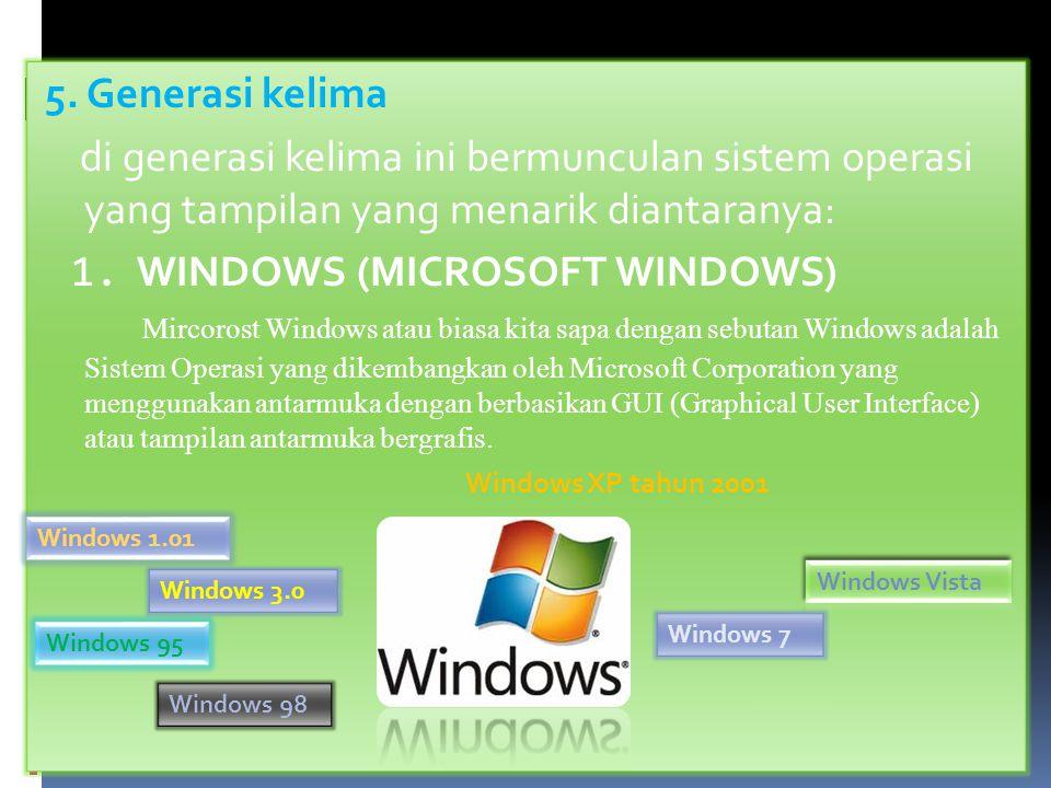 5. Generasi kelima di generasi kelima ini bermunculan sistem operasi yang tampilan yang menarik diantaranya: