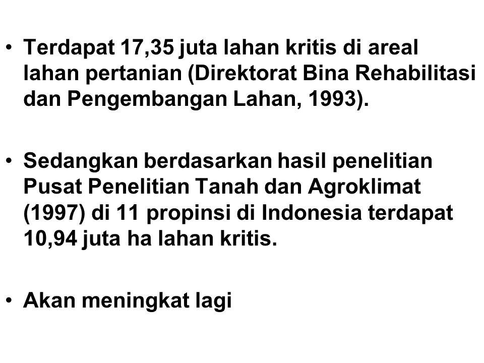 Terdapat 17,35 juta lahan kritis di areal lahan pertanian (Direktorat Bina Rehabilitasi dan Pengembangan Lahan, 1993).