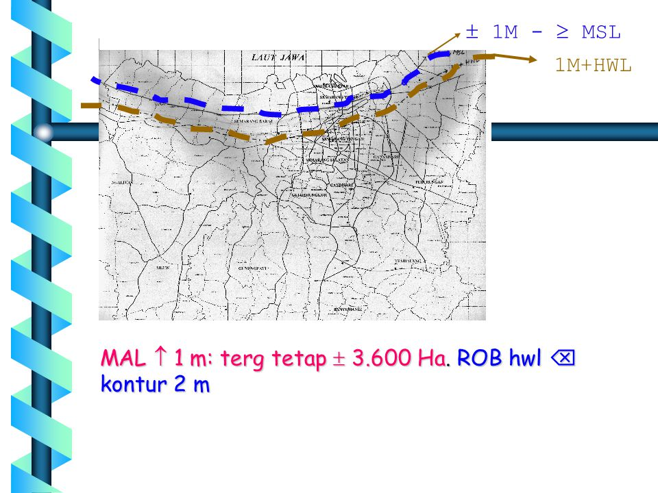 MAL  1 m: terg tetap  3.600 Ha. ROB hwl  kontur 2 m