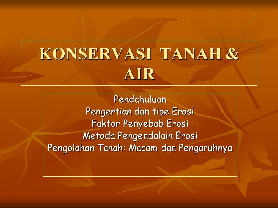 KONSERVASI TANAH & AIR Pendahuluan Pengertian dan tipe Erosi