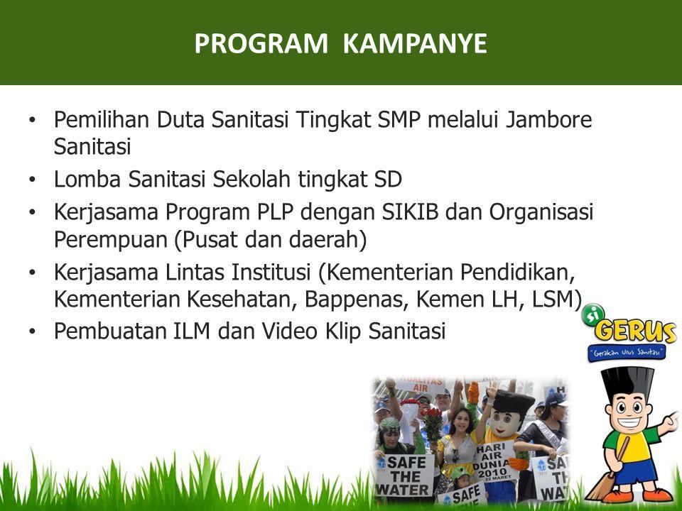 PROGRAM KAMPANYE Pemilihan Duta Sanitasi Tingkat SMP melalui Jambore Sanitasi. Lomba Sanitasi Sekolah tingkat SD.