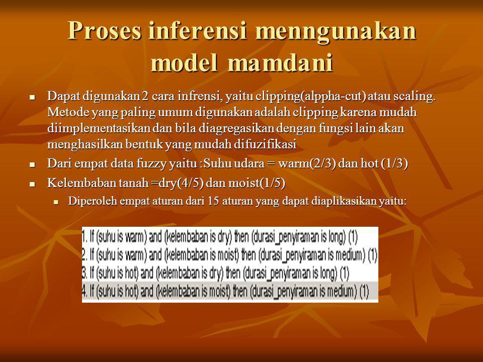 Proses inferensi menngunakan model mamdani