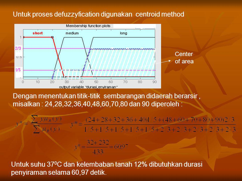 Untuk proses defuzzyfication digunakan centroid method