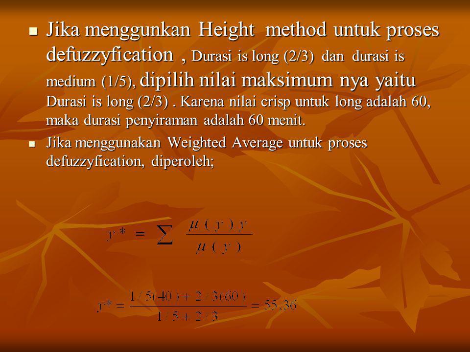 Jika menggunkan Height method untuk proses defuzzyfication , Durasi is long (2/3) dan durasi is medium (1/5), dipilih nilai maksimum nya yaitu Durasi is long (2/3) . Karena nilai crisp untuk long adalah 60, maka durasi penyiraman adalah 60 menit.