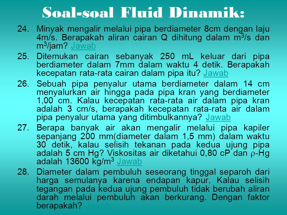 Soal-soal Fluid Dinamik: