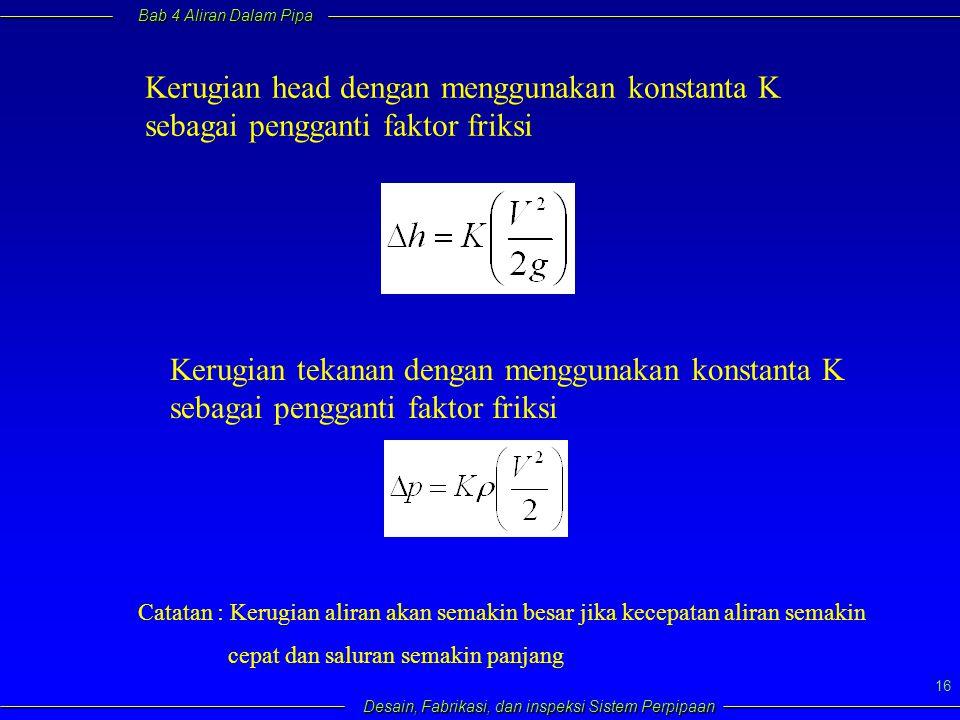 Kerugian head dengan menggunakan konstanta K sebagai pengganti faktor friksi