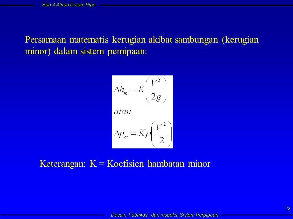 Persamaan matematis kerugian akibat sambungan (kerugian minor) dalam sistem pemipaan: