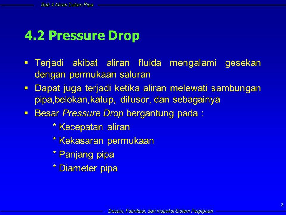 4.2 Pressure Drop Terjadi akibat aliran fluida mengalami gesekan dengan permukaan saluran.