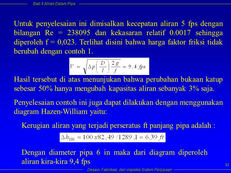 Untuk penyelesaian ini dimisalkan kecepatan aliran 5 fps dengan bilangan Re = 238095 dan kekasaran relatif 0.0017 sehingga diperoleh f = 0,023. Terlihat disini bahwa harga faktor friksi tidak berubah dengan contoh 1.