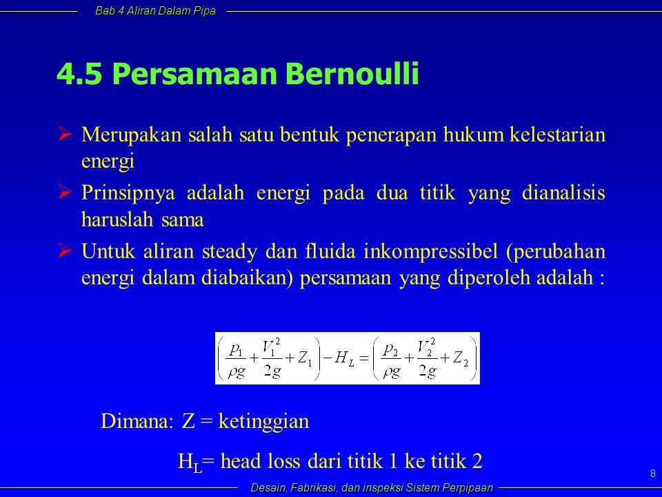 4.5 Persamaan Bernoulli Merupakan salah satu bentuk penerapan hukum kelestarian energi.