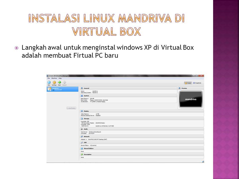 Instalasi Linux Mandriva di Virtual Box
