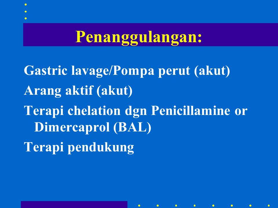 Penanggulangan: Gastric lavage/Pompa perut (akut) Arang aktif (akut)