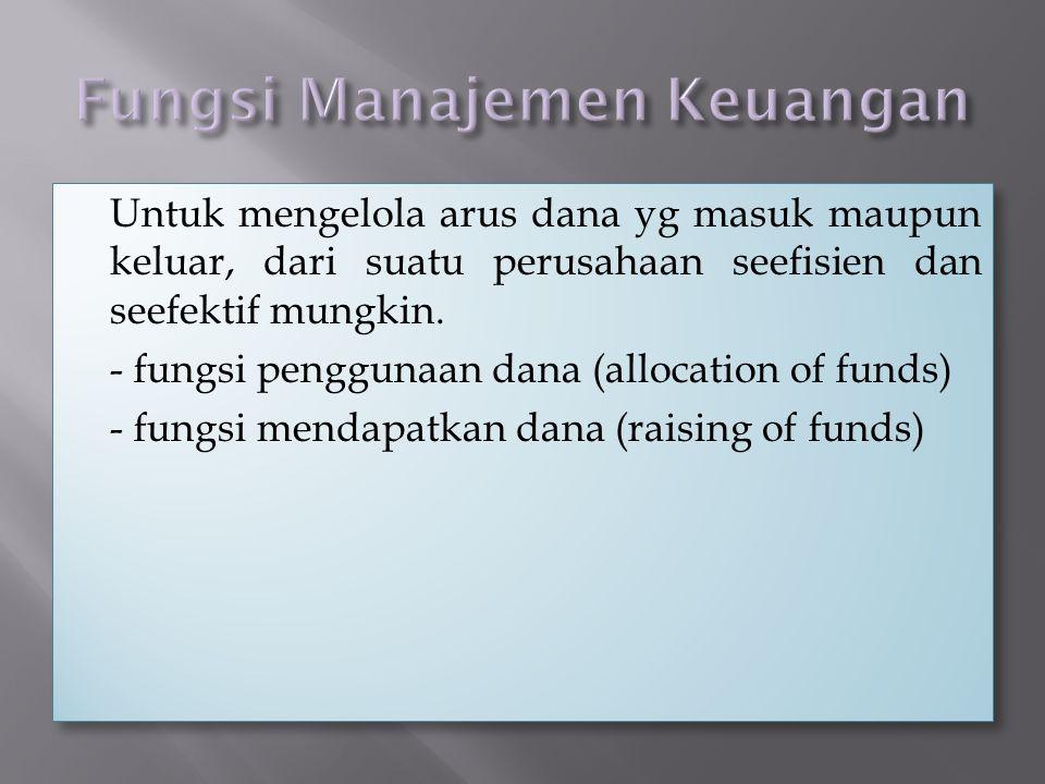 Fungsi Manajemen Keuangan
