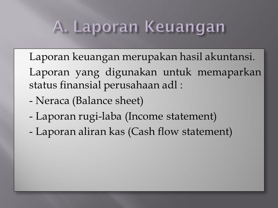 A. Laporan Keuangan Laporan keuangan merupakan hasil akuntansi.
