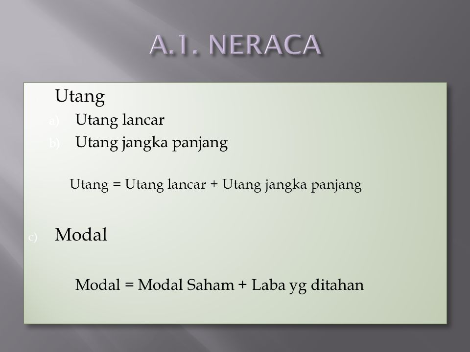 A.1. NERACA Utang Modal Utang lancar Utang jangka panjang