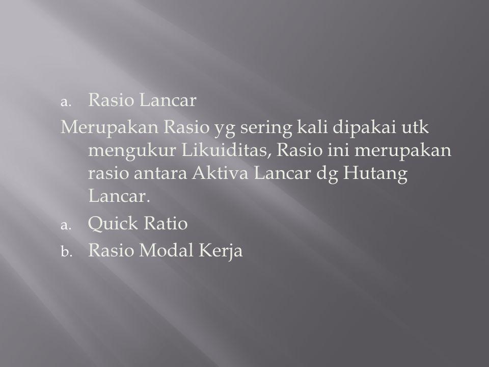 Rasio Lancar Merupakan Rasio yg sering kali dipakai utk mengukur Likuiditas, Rasio ini merupakan rasio antara Aktiva Lancar dg Hutang Lancar.