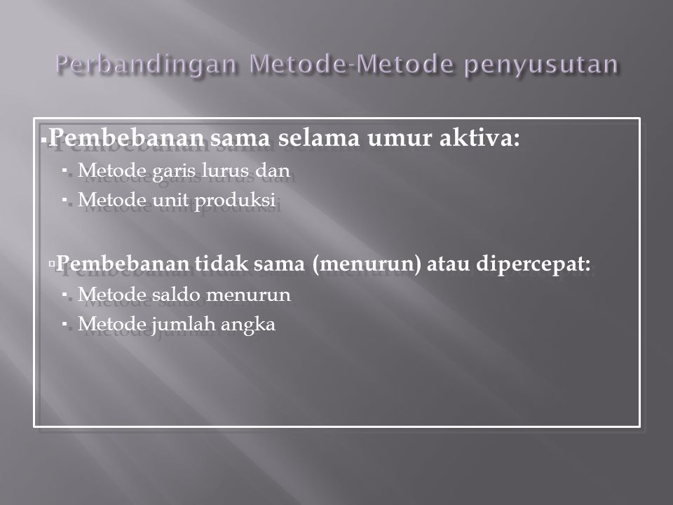 Perbandingan Metode-Metode penyusutan