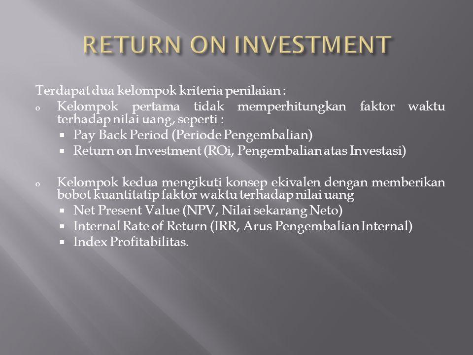 RETURN ON INVESTMENT Terdapat dua kelompok kriteria penilaian :