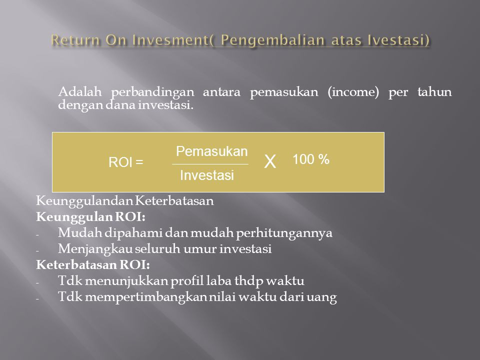 Return On Invesment( Pengembalian atas Ivestasi)
